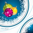Blue christmas greeting with decorations - Image vectorielle