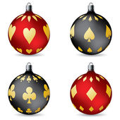 Poker christmas decorations — Stock Vector