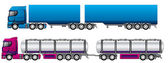 B double road trains — Stock Vector
