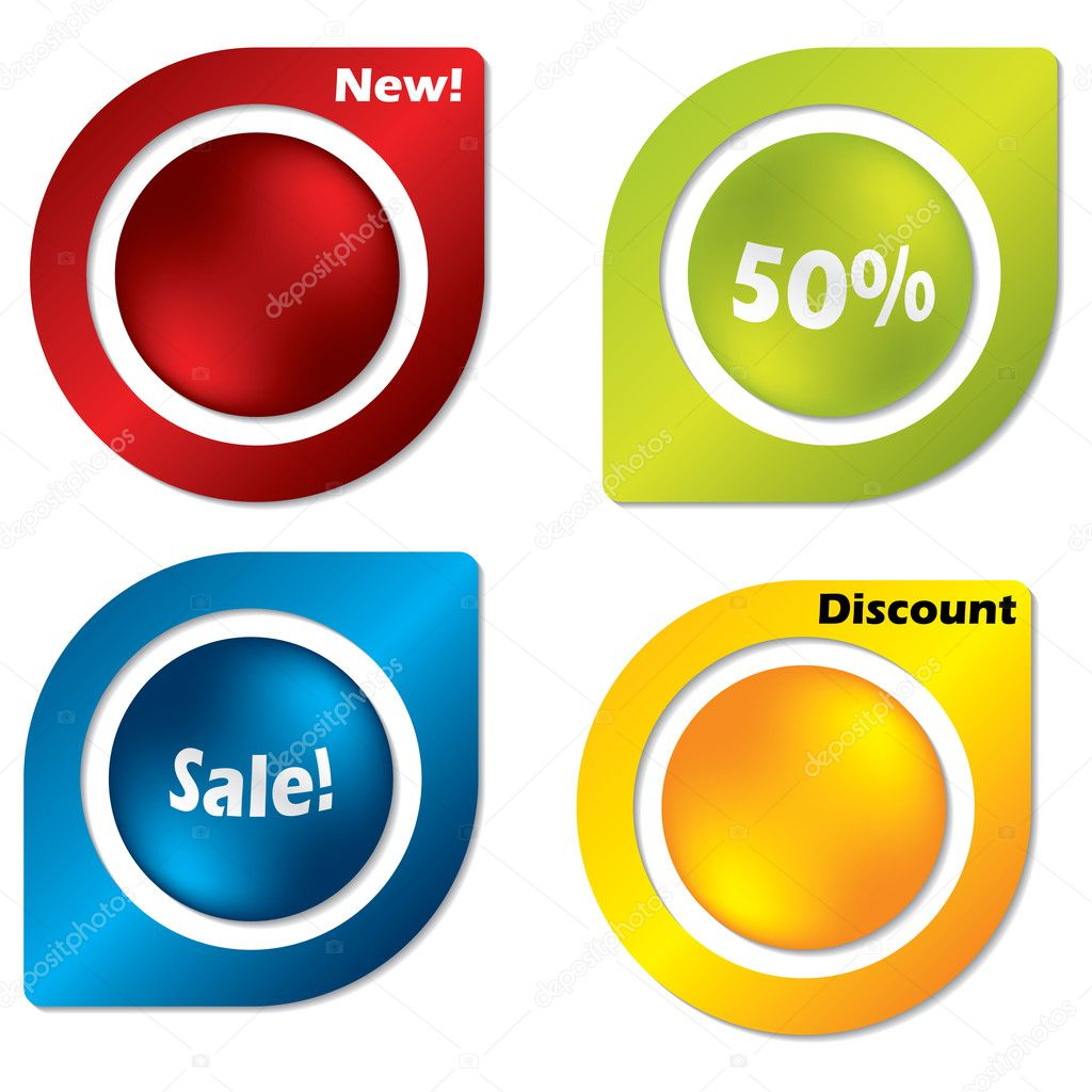 Colorful button label set of four — Stock Vector #4304223