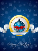 Blue christmas greeting with ribbon design — Stock Vector
