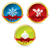 Christmas buttons with bow and ribbon — Stock Vector