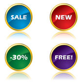 Glossy advertising buttons — Vettoriale Stock