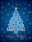 Blue and white dotted christmas card — Stock Vector