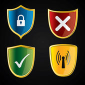 Shield icons for security — Stock Vector