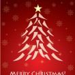 Red christmas card with tree - Stock Vector