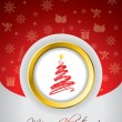 Red christmas greeting card — Vector de stock