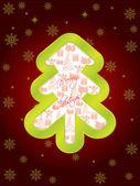 Glansig grön julgran gratulationskort — Stockvektor