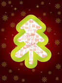 Glossy green christmas tree greeting card — Stock vektor
