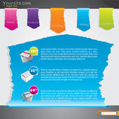 Ripped label webpage template design — Stock Vector