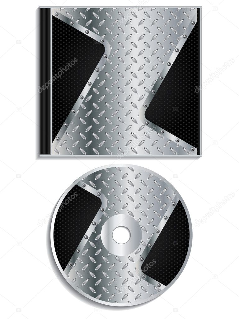 Metallic dvd and cover design — Stock Vector #4526353