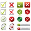 Tick and cross stickers, buttons, and symbols — Stock Vector