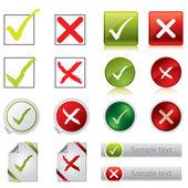 Símbolos, botones y etiquetas engomadas de la garrapata y cruz — Vector de stock