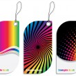 Rainbow colored label design set — Stock Vector