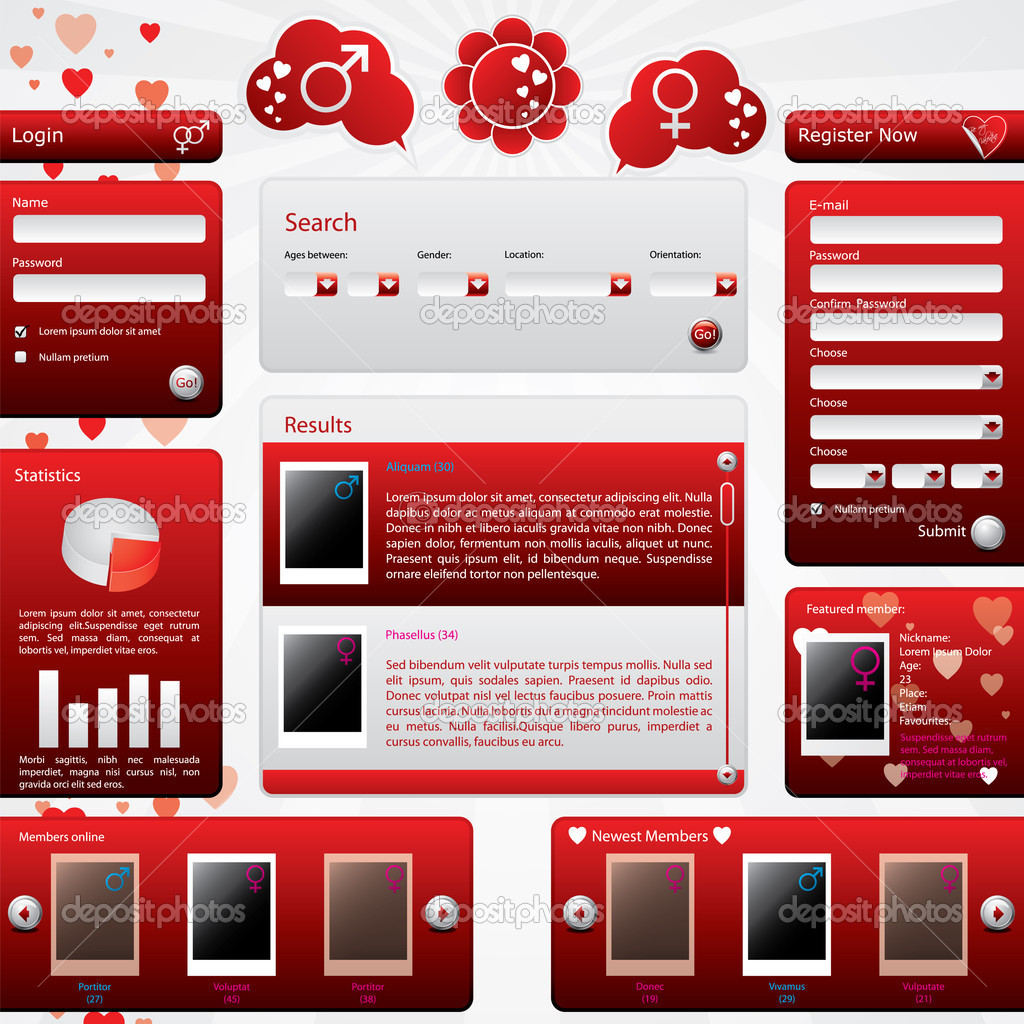 depositphotos 4808017 Dating website template for valentine039s day Grey Modern Website Design Elements: Buttons, Form, Slider, Scroll, Icons, ...