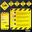 Industrial web template with label signs — Stock Vector