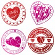 Love stamps for love letters — Stockvectorbeeld