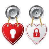 Heart shaped door labels — Stock Vector