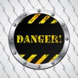 Stock Vector: Wired fence with danger sign