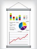 Ruede para arriba la pantalla diseño con elementos financieros — Vector de stock