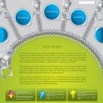 Green website template with zipper design — Stock Vector