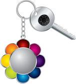 Flower keyholder with key — Stock Vector