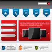 Advertising website design with user login — Stock Vector