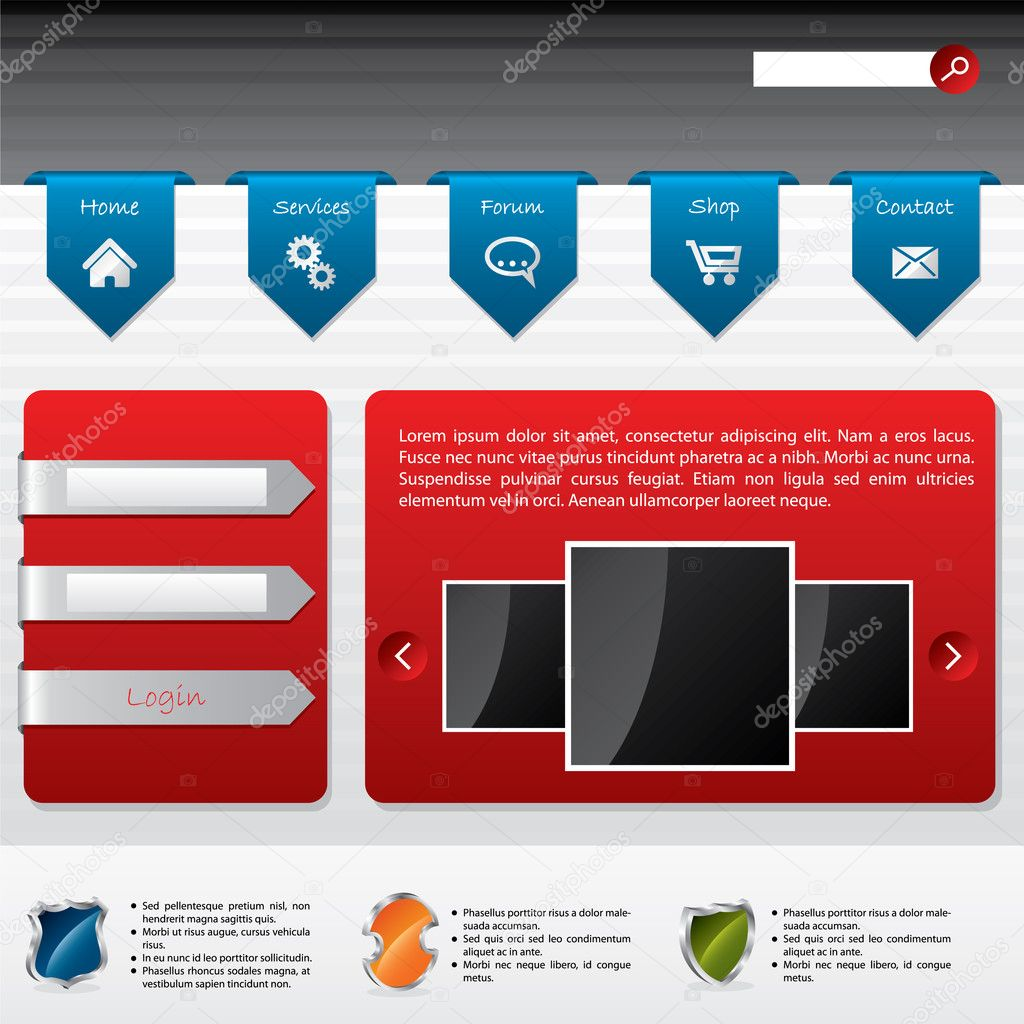 depositphotos 5327814 Advertising website design with user login Grey Modern Website Design Elements: Buttons, Form, Slider, Scroll, Icons, ...