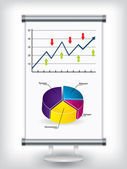 Roll up stand with charts — Stock Vector