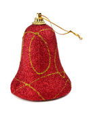 Red handbell decoration for a new-year tree — Stock Photo