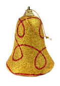 Yellow handbell decoration for a new-year tree — Stock Photo