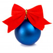 Bow and christmas ball decoration for a new-year tree — Stock Photo