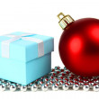 Christmas ball and small box for a gift — Stock Photo