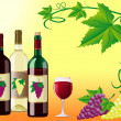 Wine is red white with a grapes and decorative pattern of leaves — Stock Photo