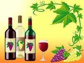 Wino jest czerwony biały z winogron i ozdobny wzór liści — Zdjęcie stockowe