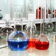 Stock Photo: Laboratory beakers with coloured liquid