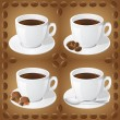 Set of icons of cups with coffee — Stock Vector