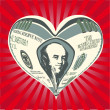 Vector de stock : Heart from one hundred dollar notes