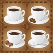 Set of icons of cups with coffee — Stock Photo