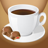 Cup of coffee with chocolate candies — Stock Photo