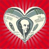 Coeur de billets de cent dollars — Photo