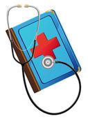 Medicinsk bok och stetoskop — Stockfoto