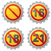 Beer lids with prohibition on age vector illustration — Stockvector