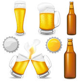 Set of beer vector illustration — Vector de stock