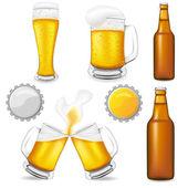 Uppsättning öl vektor illustration — Stockvektor