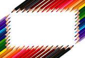Rahmen aus aus buntstifte farbstifte — Stockfoto