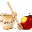 Honey in a jug and apple — Stock Photo