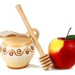 miele in una brocca e mele — Foto Stock