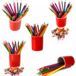 Coloured pencils are in red glass — Stock Photo #5235554
