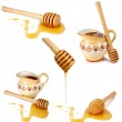 Honey flowing down from a wooden stick — Stock Photo #5235574